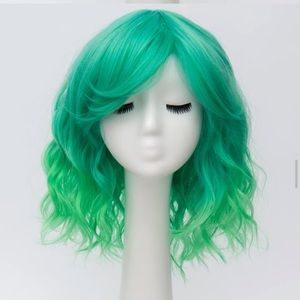 Ombré green blue wig hair extension color bright m